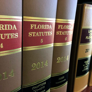 Florida Statutes books on shelf. Public photo.