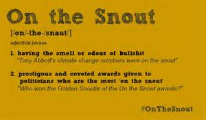 on the snout